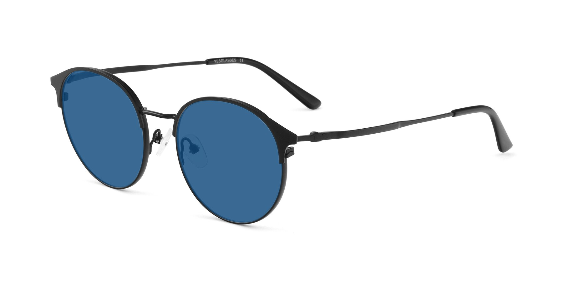 Angle of Berkley in Matte Black with Blue Tinted Lenses