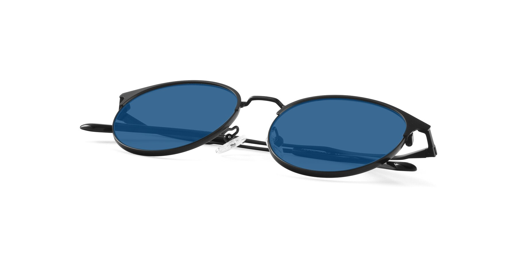 View of Berkley in Matte Black with Blue Tinted Lenses
