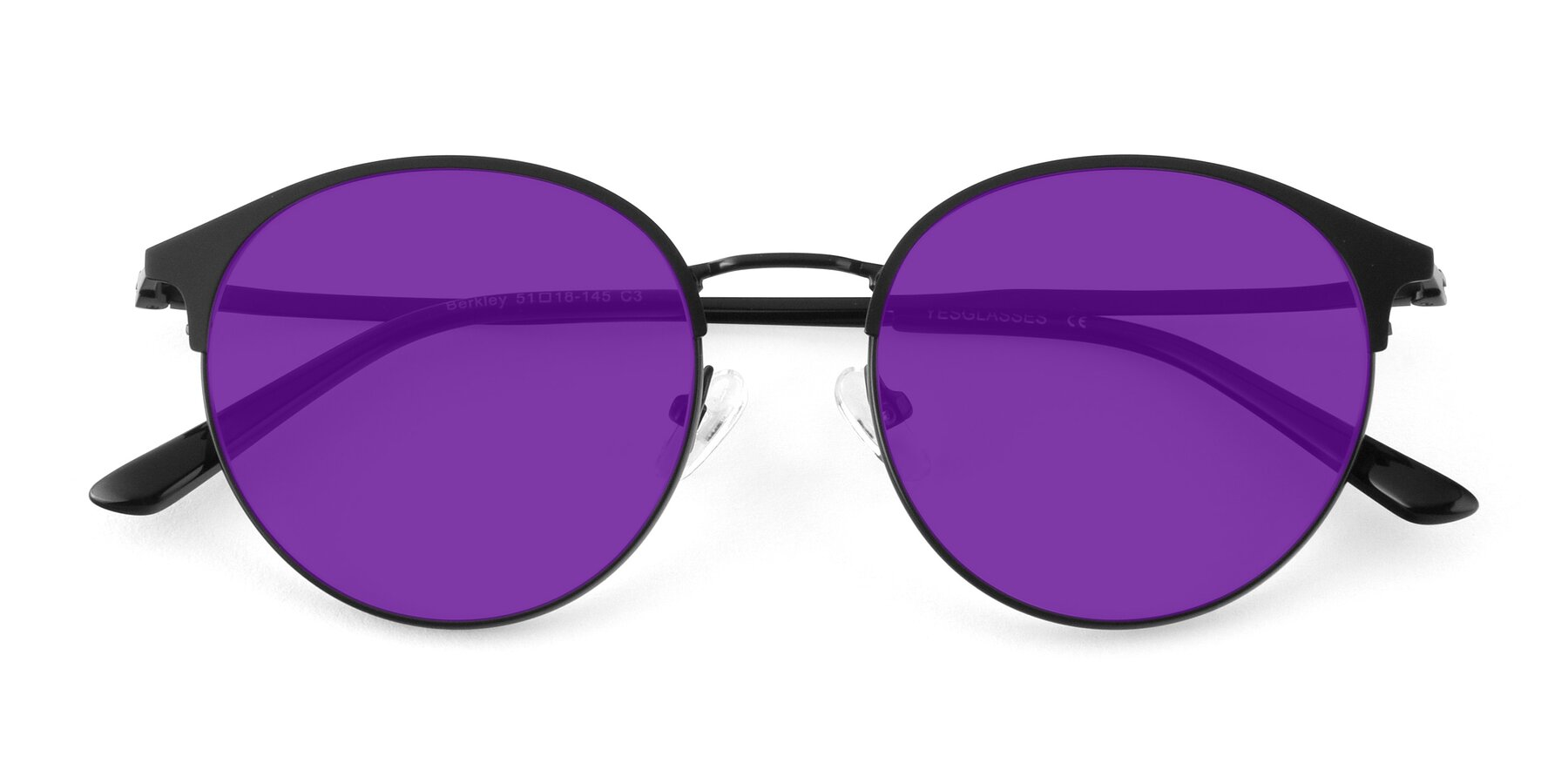 Folded Front of Berkley in Matte Black with Purple Tinted Lenses