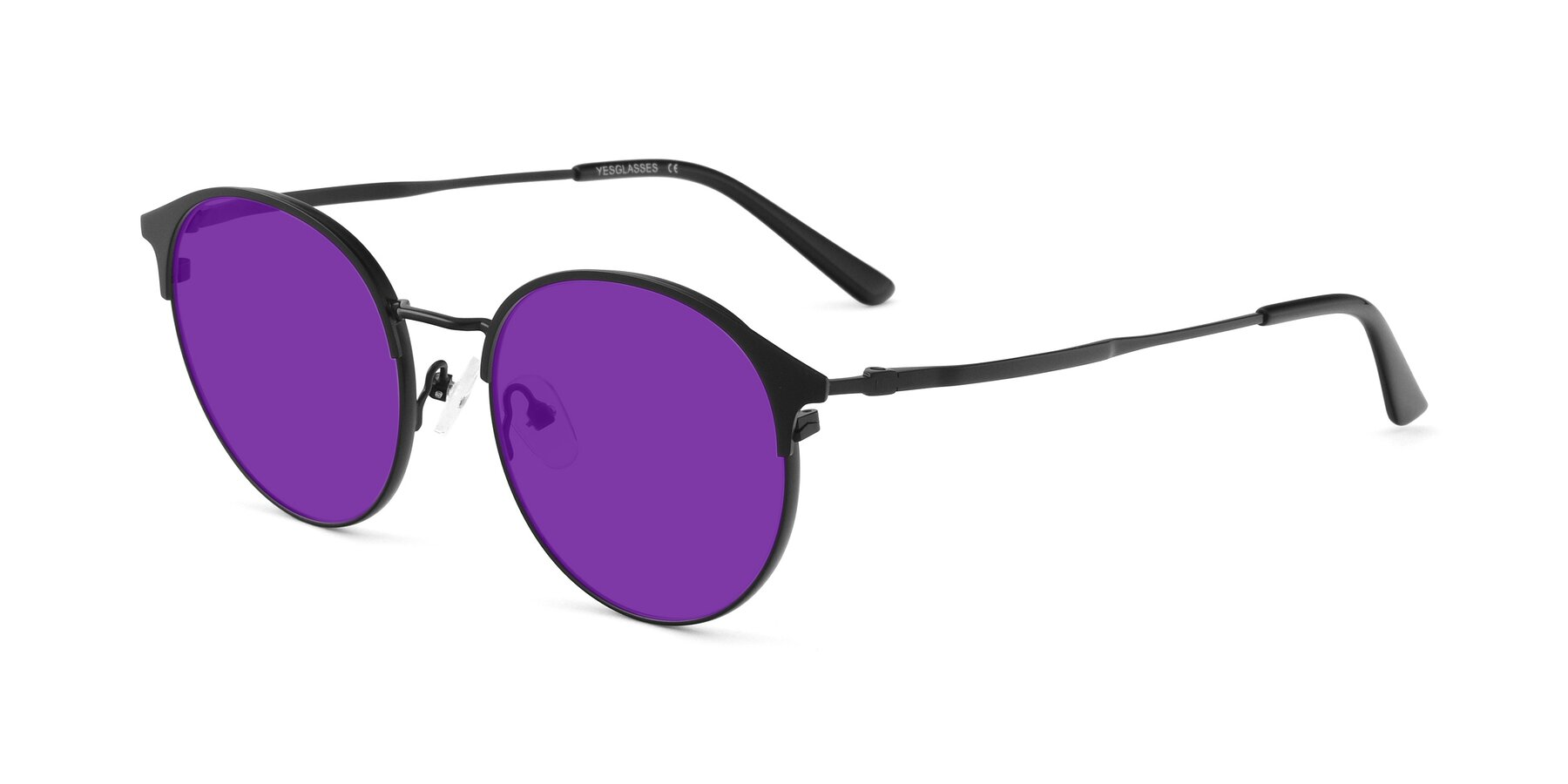 Angle of Berkley in Matte Black with Purple Tinted Lenses