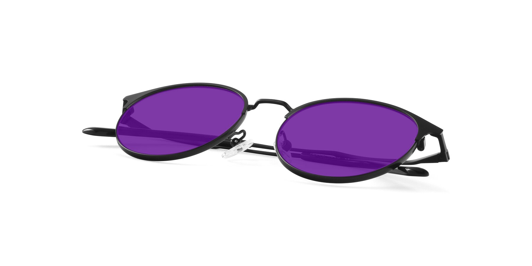 View of Berkley in Matte Black with Purple Tinted Lenses