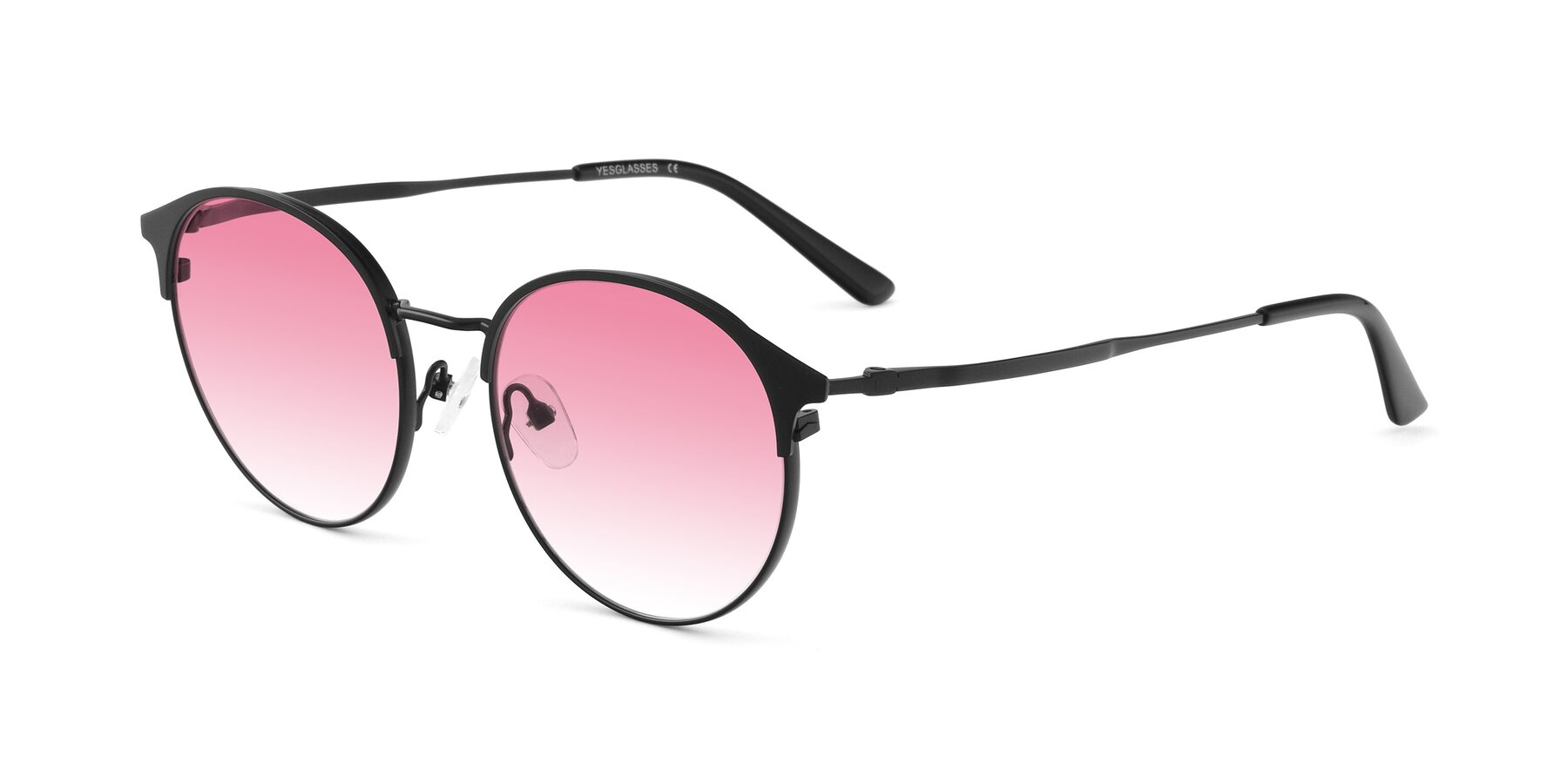 Angle of Berkley in Matte Black with Pink Gradient Lenses