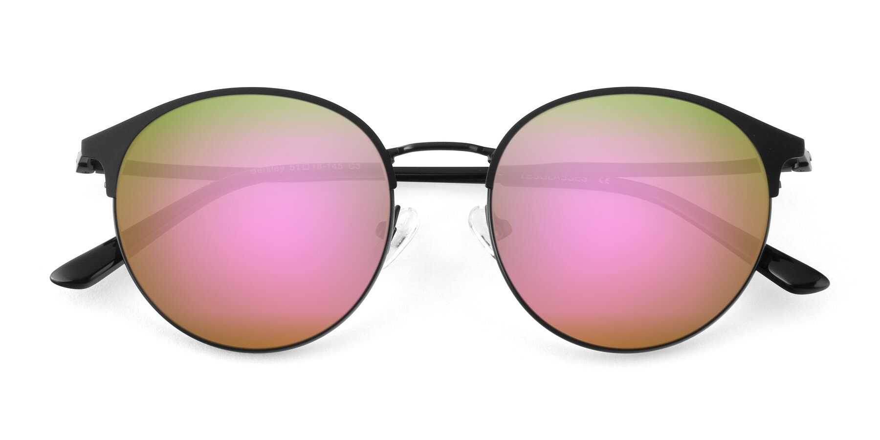 Folded Front of Berkley in Matte Black with Pink Mirrored Lenses