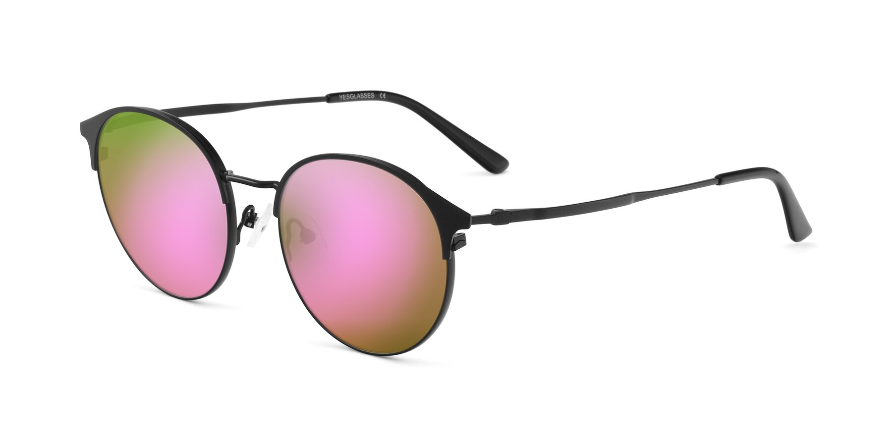 Angle of Berkley in Matte Black with Pink Mirrored Lenses