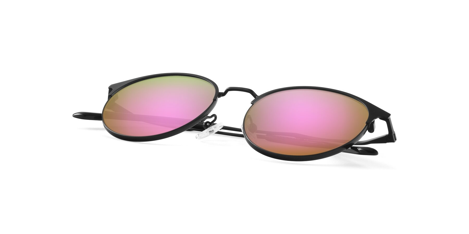 View of Berkley in Matte Black with Pink Mirrored Lenses