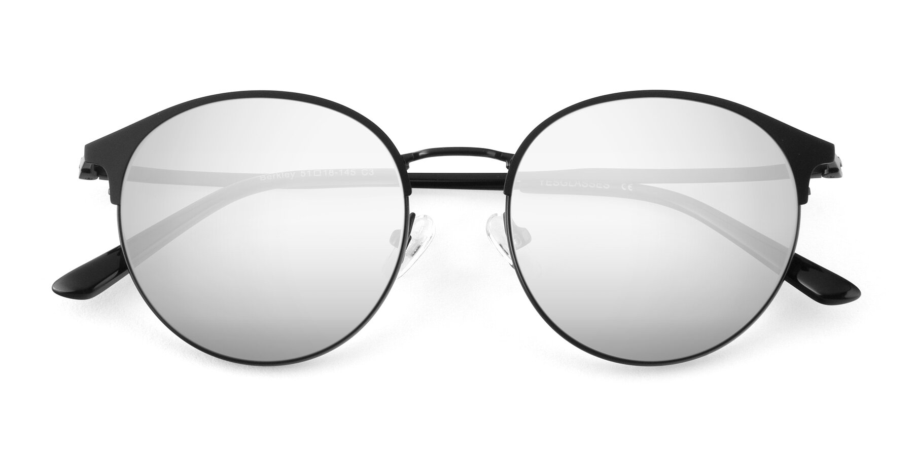 Folded Front of Berkley in Matte Black with Silver Mirrored Lenses