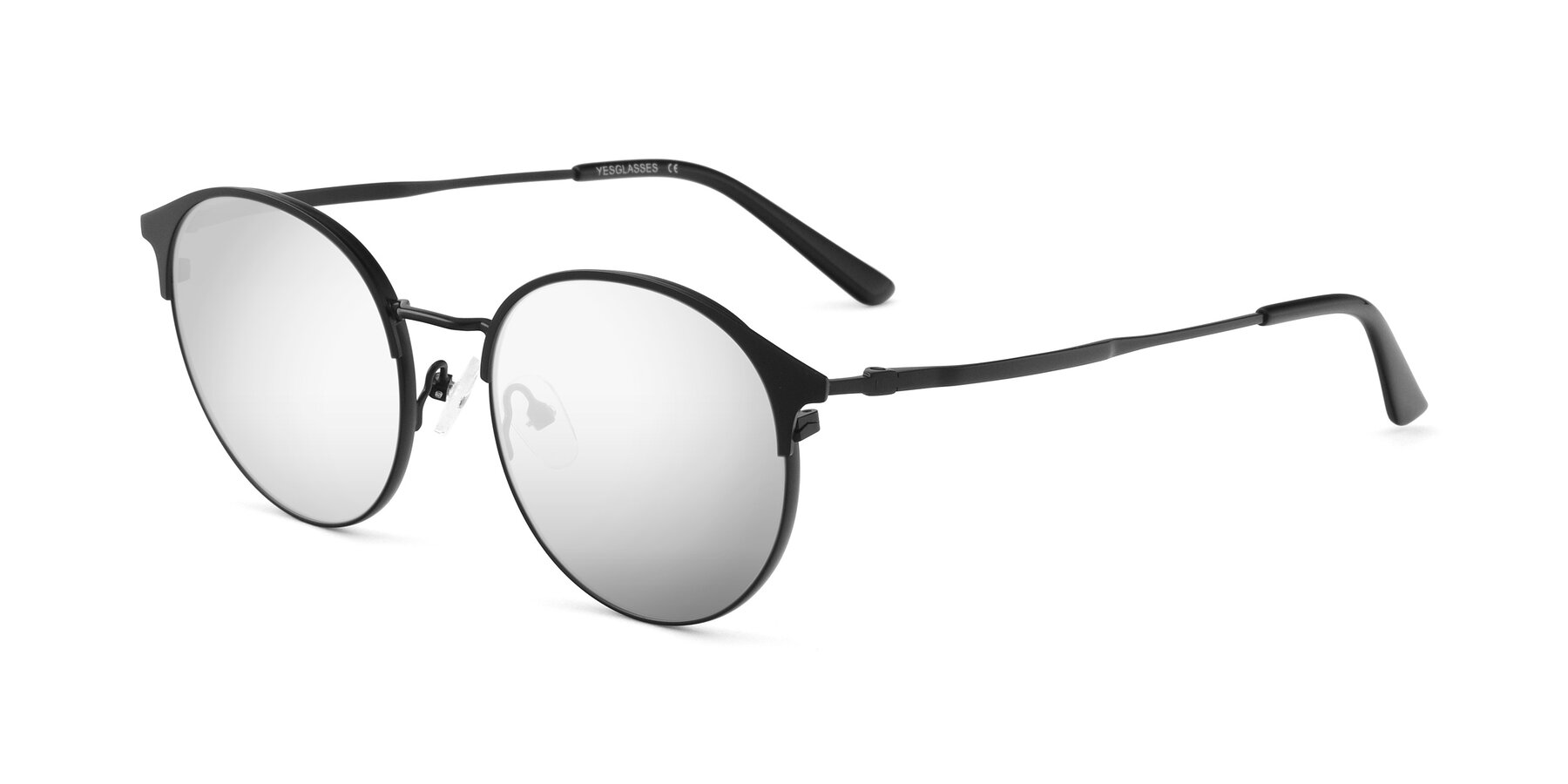Angle of Berkley in Matte Black with Silver Mirrored Lenses