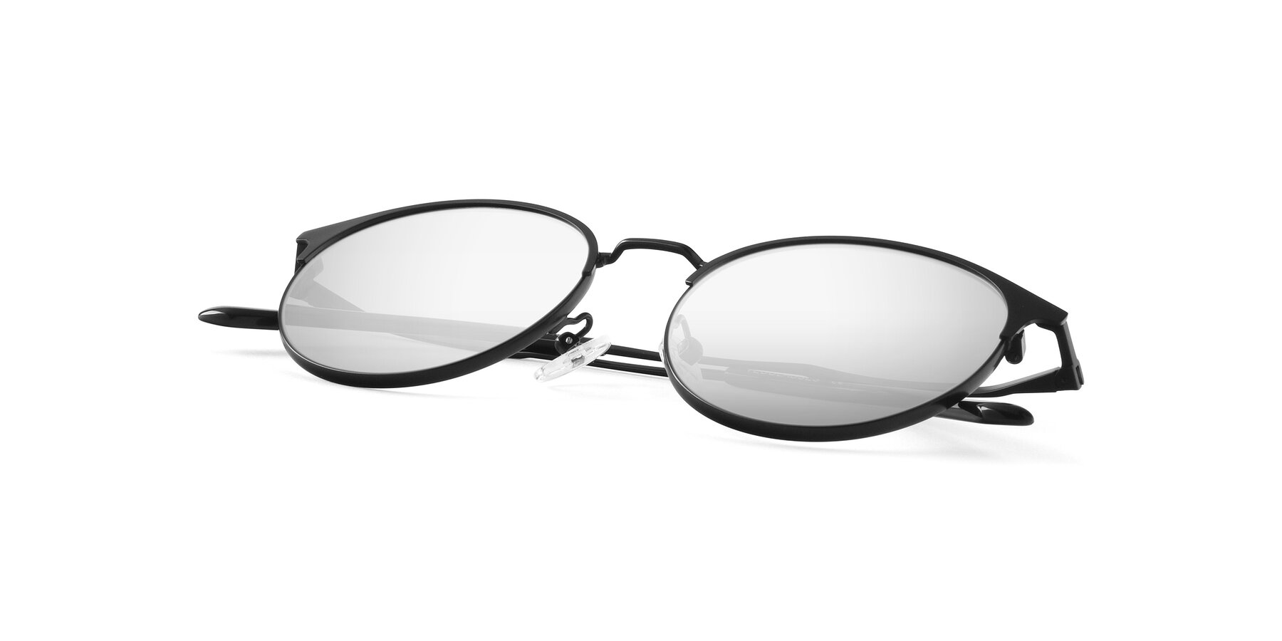 View of Berkley in Matte Black with Silver Mirrored Lenses