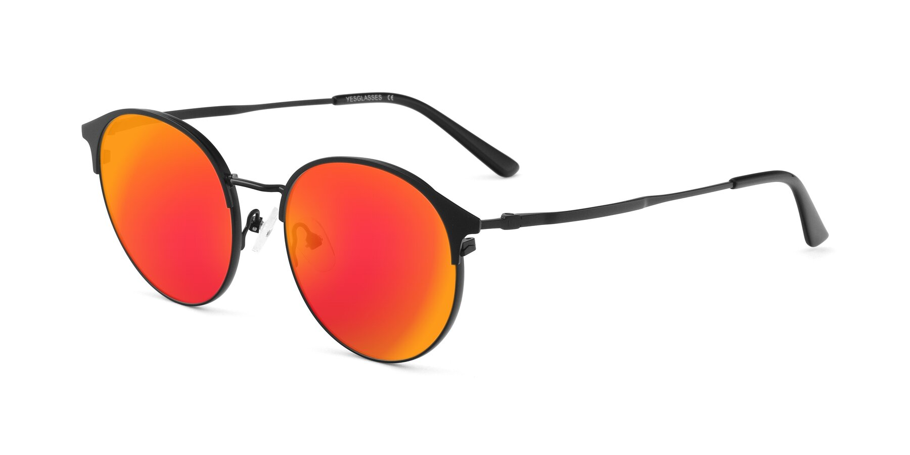 Angle of Berkley in Matte Black with Red Gold Mirrored Lenses