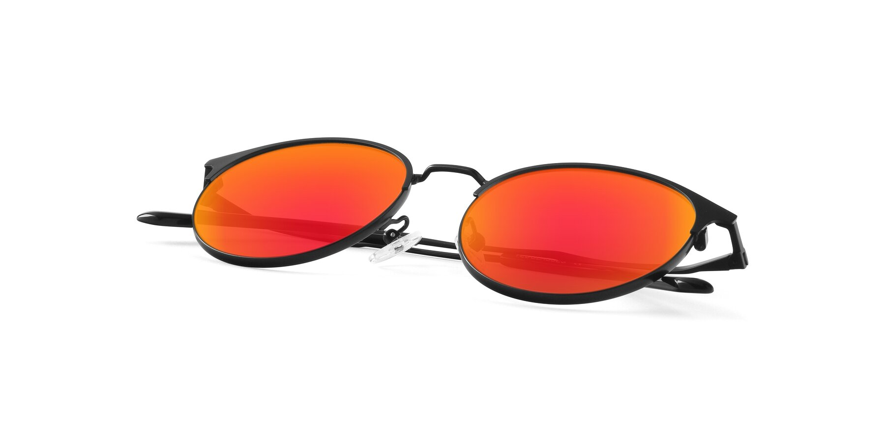 View of Berkley in Matte Black with Red Gold Mirrored Lenses