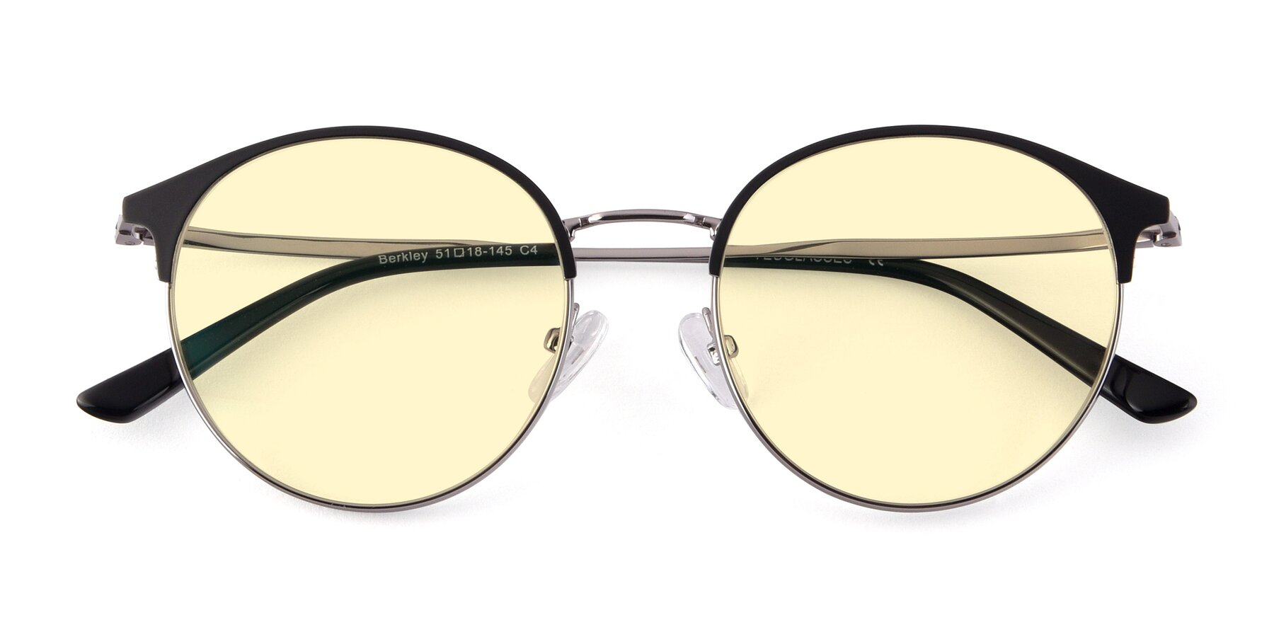 Folded Front of Berkley in Black-Gun with Light Yellow Tinted Lenses