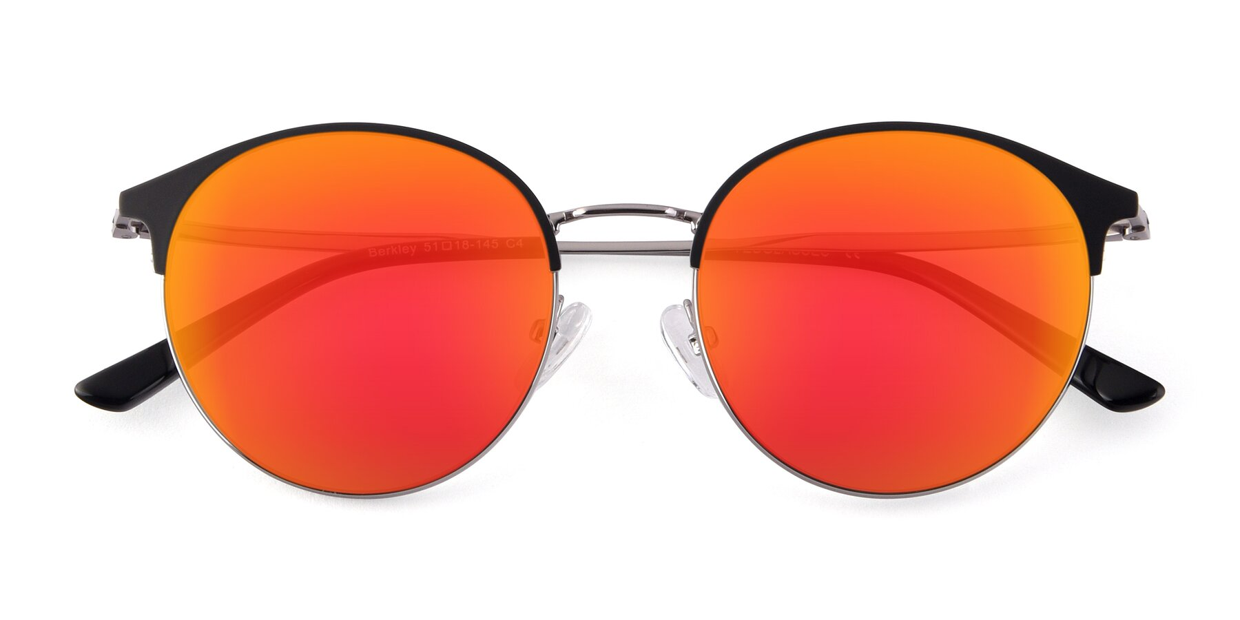 Folded Front of Berkley in Black-Gun with Red Gold Mirrored Lenses