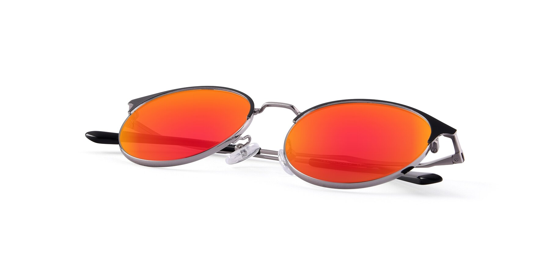 View of Berkley in Black-Gun with Red Gold Mirrored Lenses