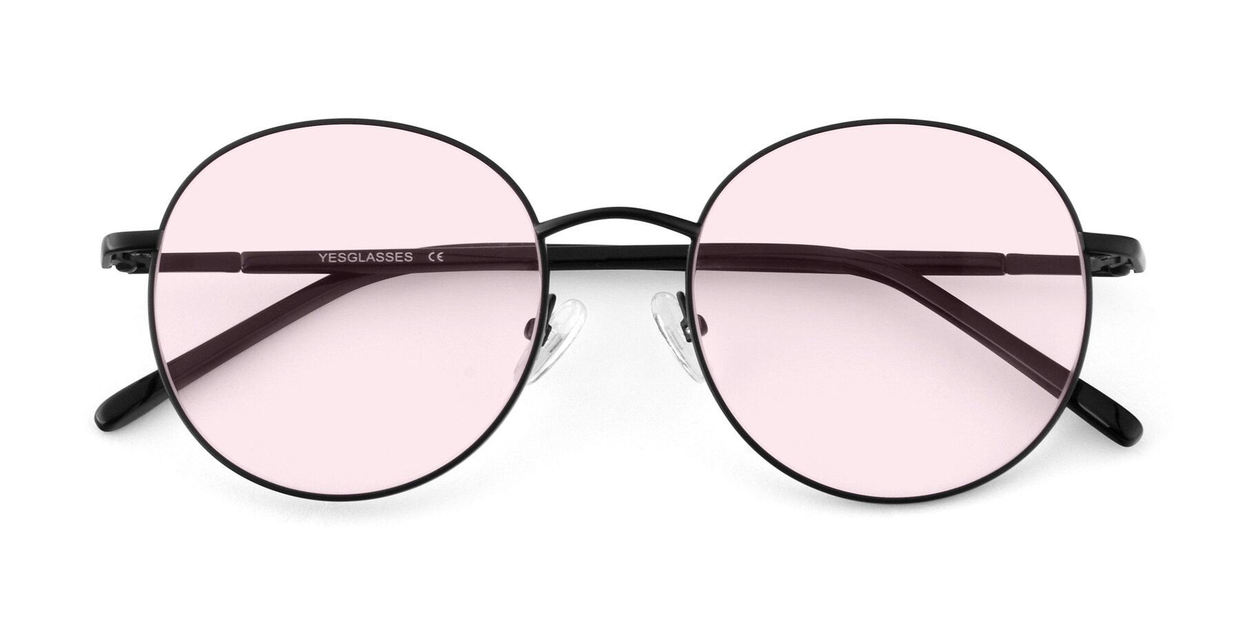 Folded Front of Cosmos in Black with Light Pink Tinted Lenses