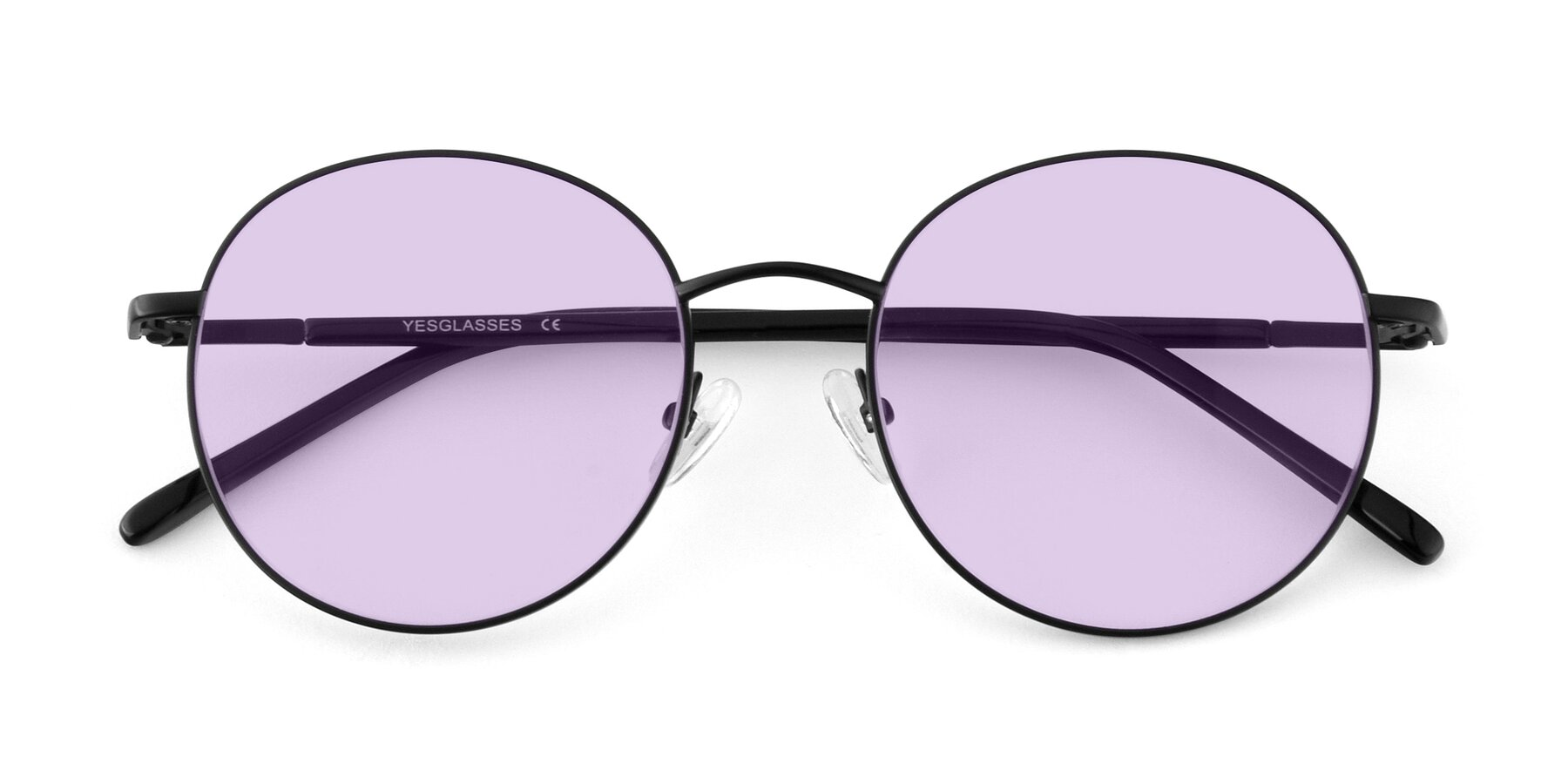 Folded Front of Cosmos in Black with Light Purple Tinted Lenses