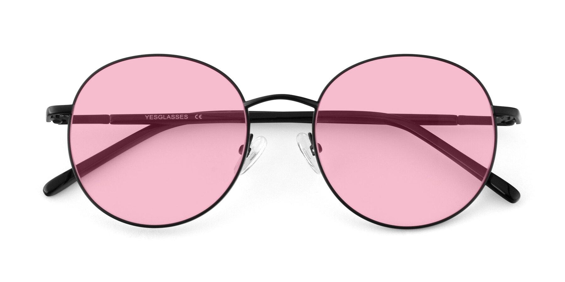 Folded Front of Cosmos in Black with Medium Pink Tinted Lenses