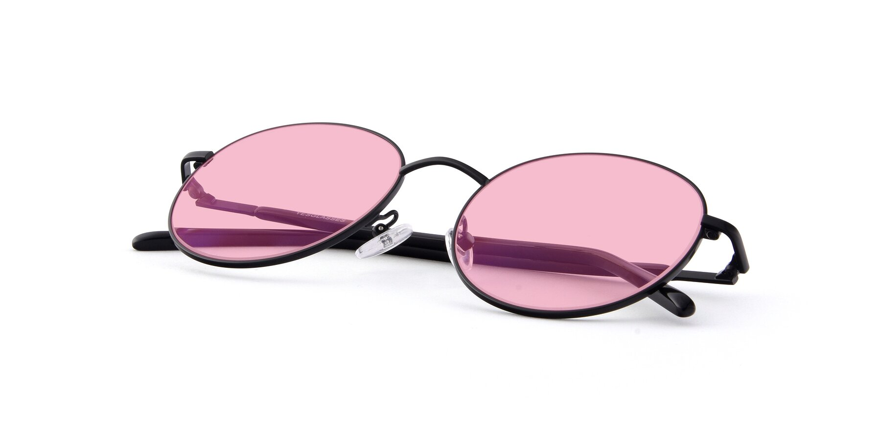 View of Cosmos in Black with Medium Pink Tinted Lenses