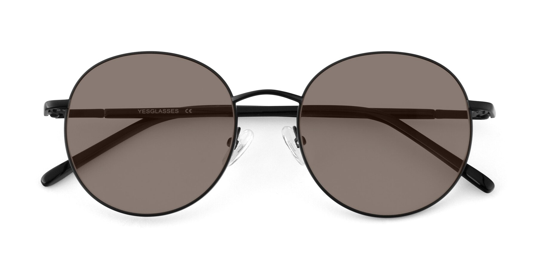 Folded Front of Cosmos in Black with Medium Brown Tinted Lenses