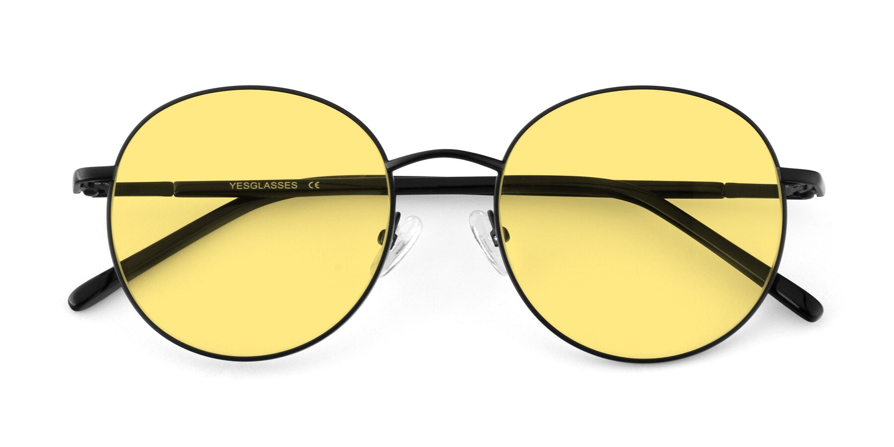 Folded Front of Cosmos in Black with Medium Yellow Tinted Lenses