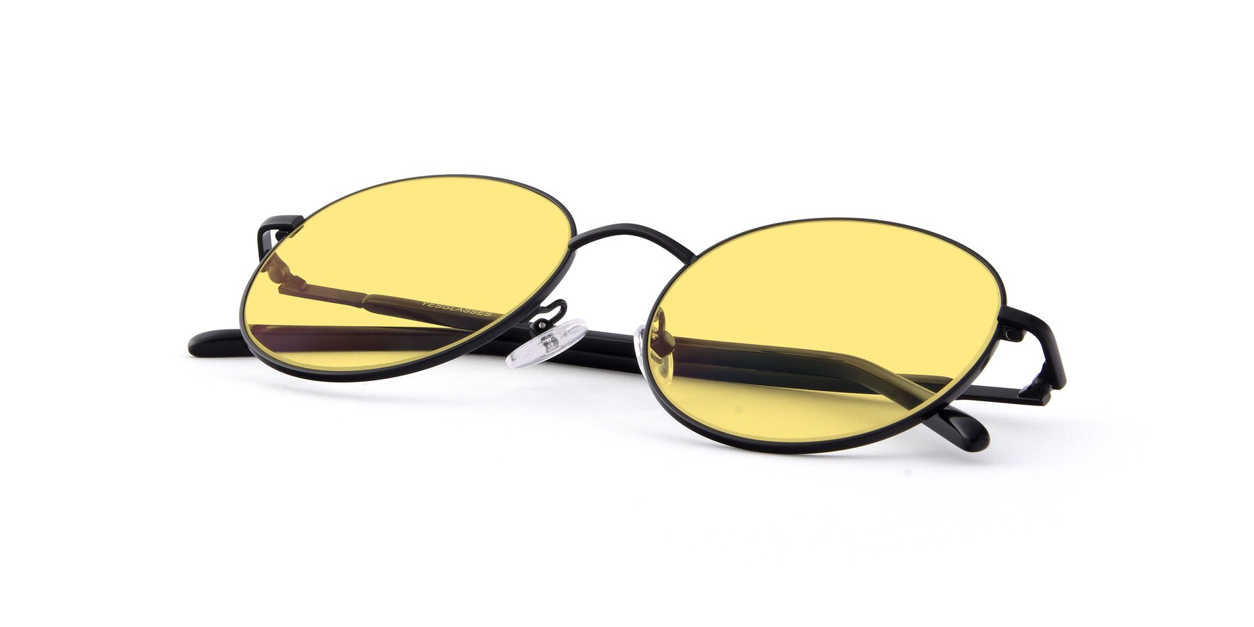 View of Cosmos in Black with Medium Yellow Tinted Lenses