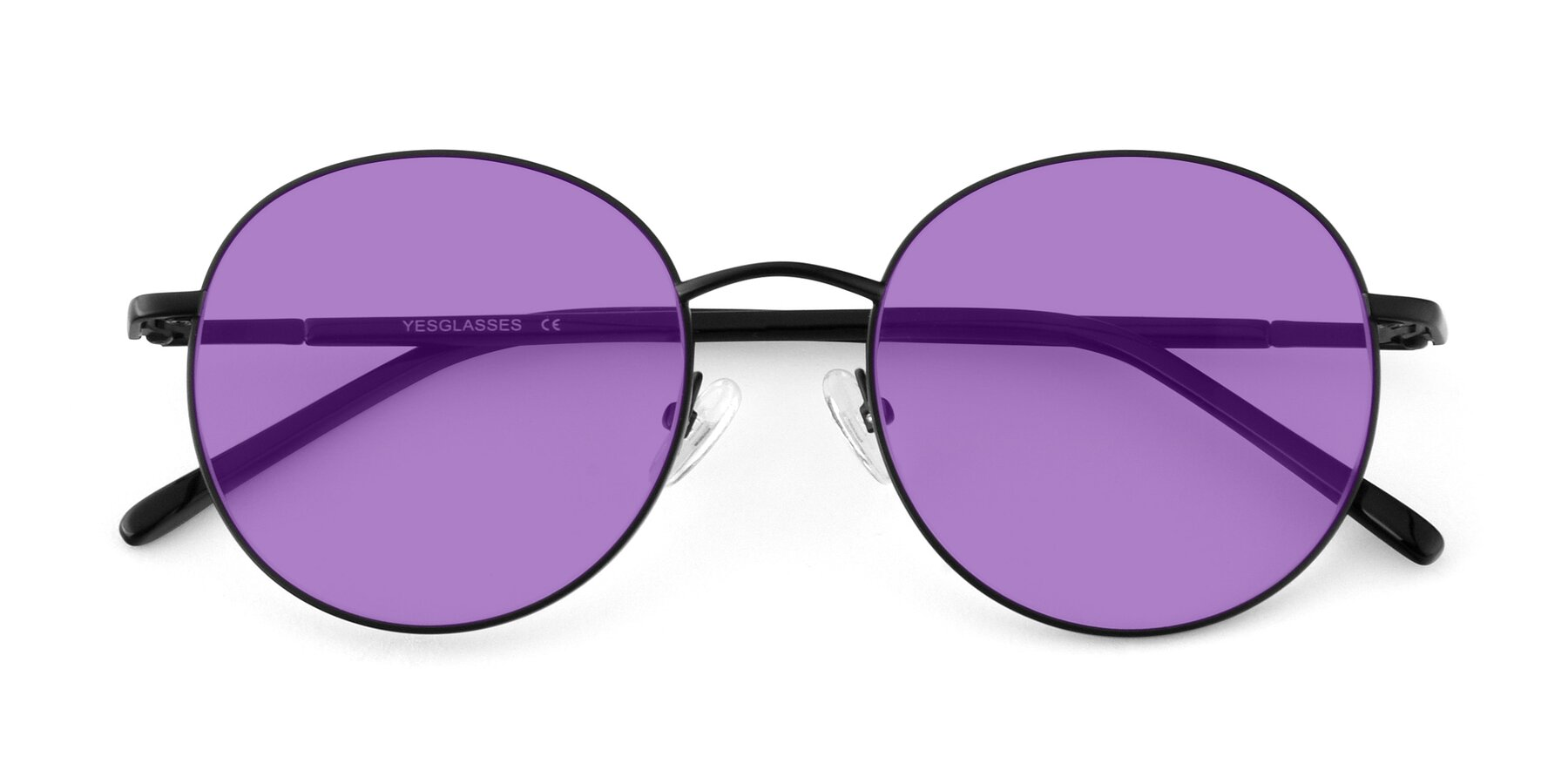 Folded Front of Cosmos in Black with Medium Purple Tinted Lenses