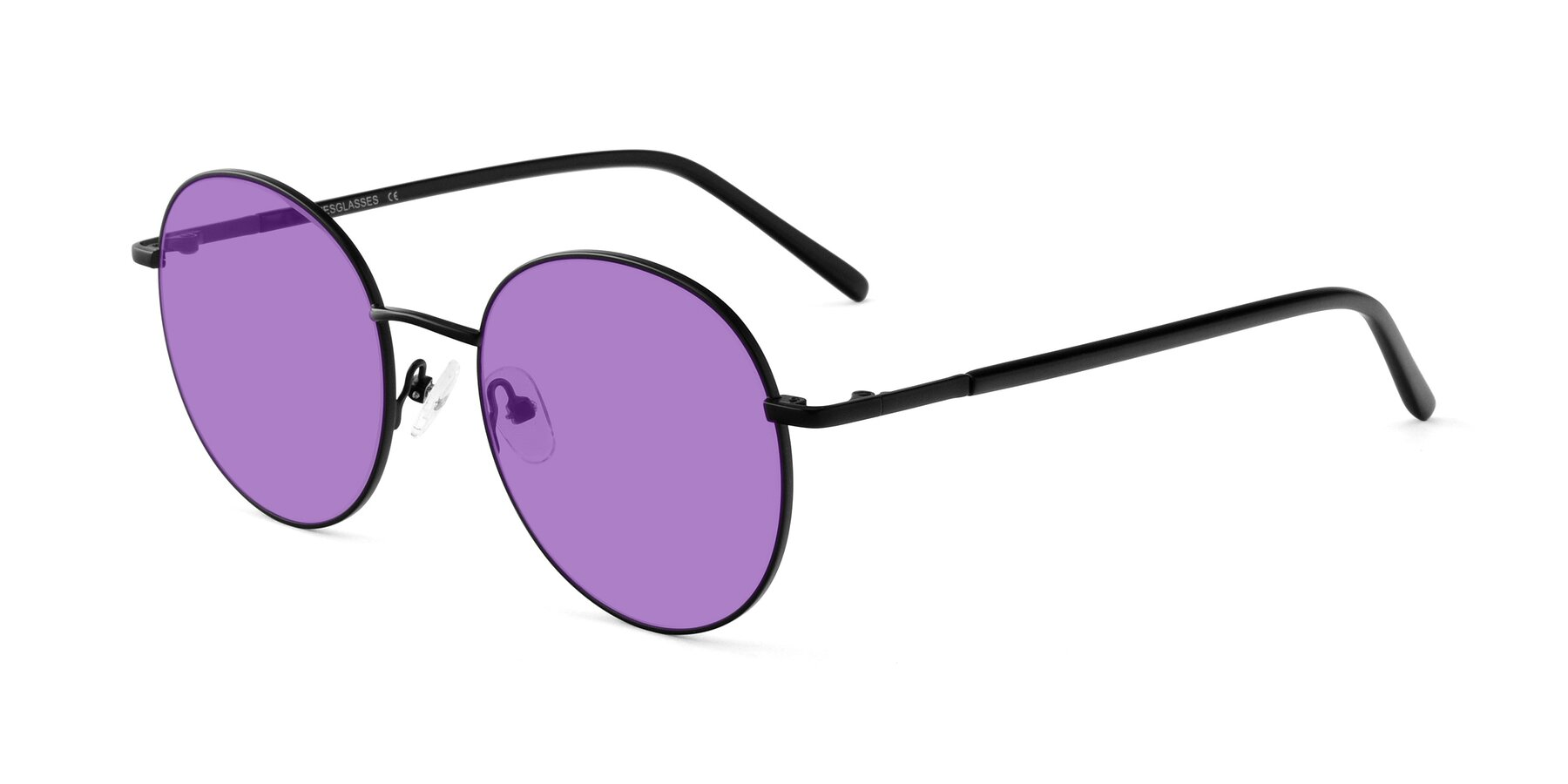 Angle of Cosmos in Black with Medium Purple Tinted Lenses