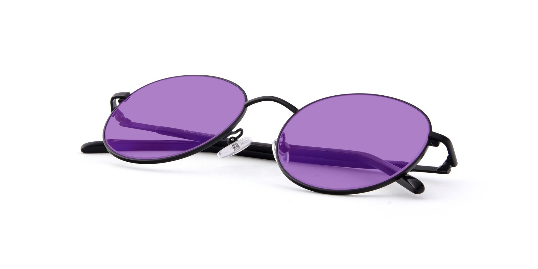 View of Cosmos in Black with Medium Purple Tinted Lenses