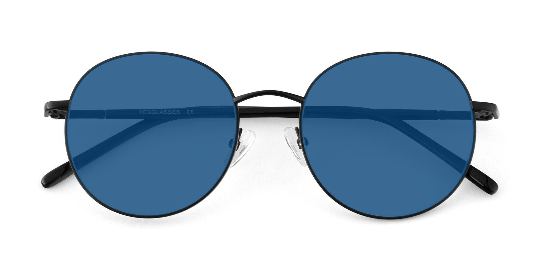 Folded Front of Cosmos in Black with Blue Tinted Lenses
