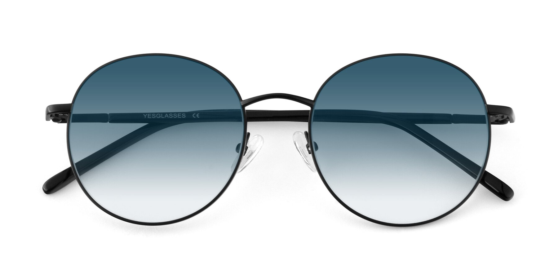 Folded Front of Cosmos in Black with Blue Gradient Lenses
