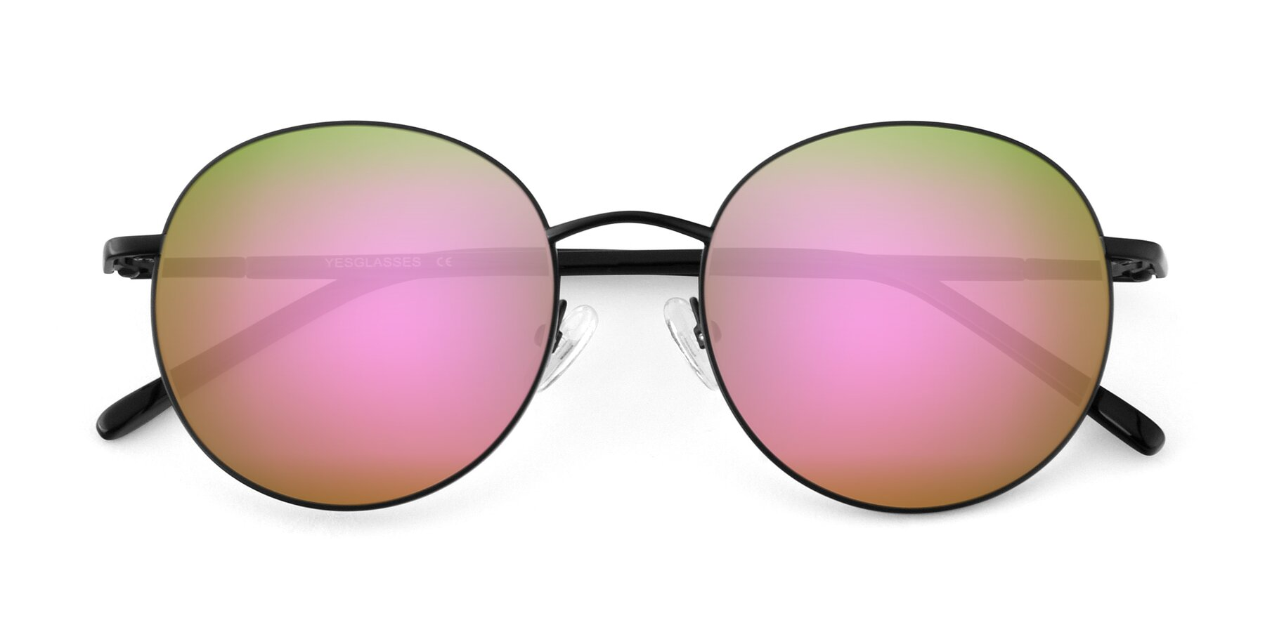 Folded Front of Cosmos in Black with Pink Mirrored Lenses