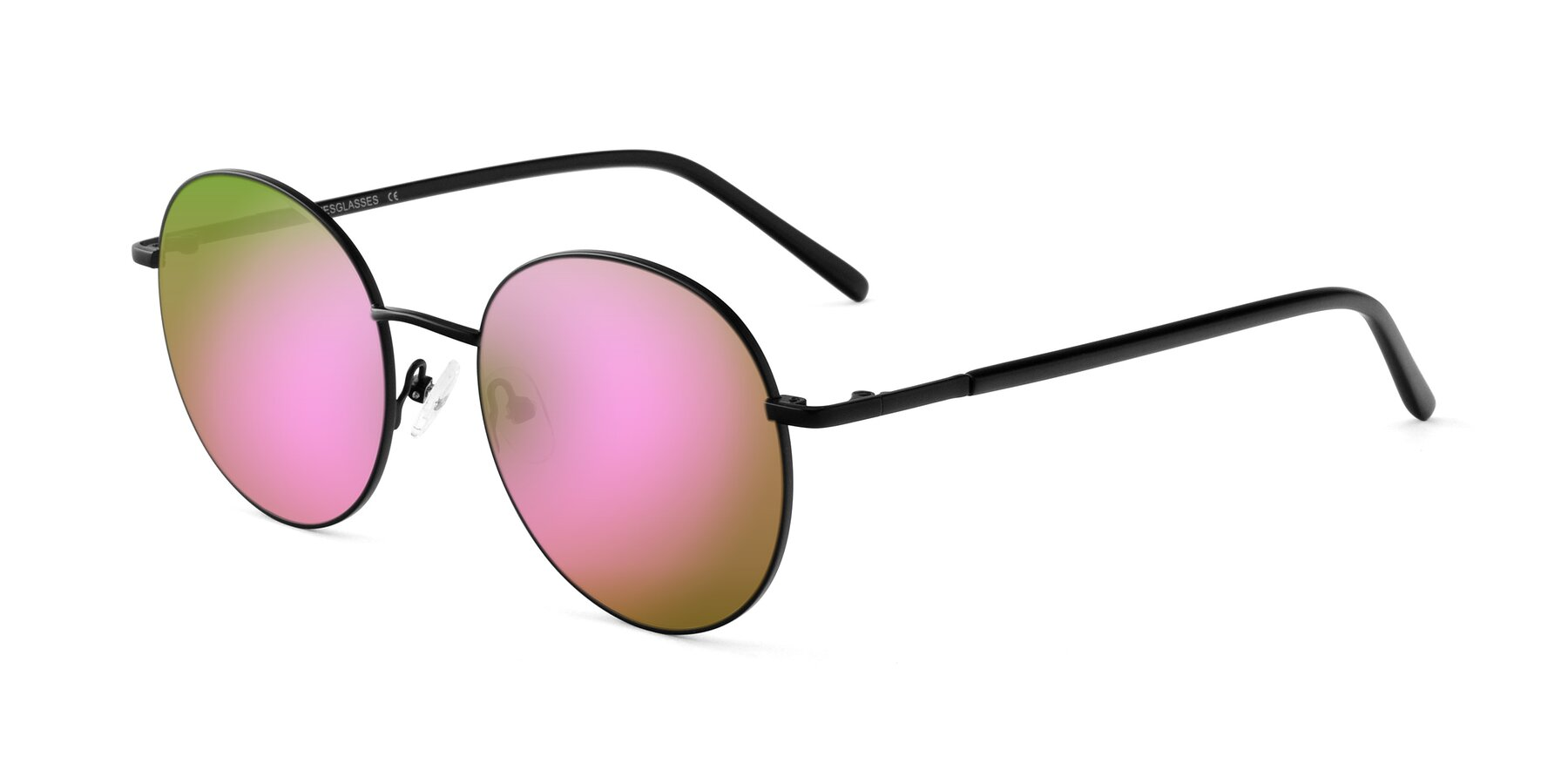 Angle of Cosmos in Black with Pink Mirrored Lenses