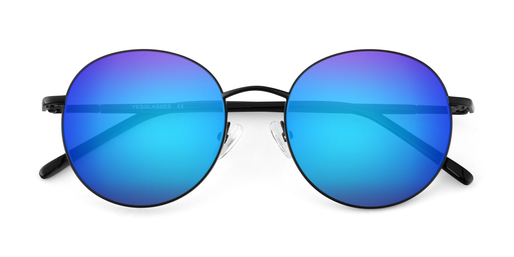 Folded Front of Cosmos in Black with Blue Mirrored Lenses