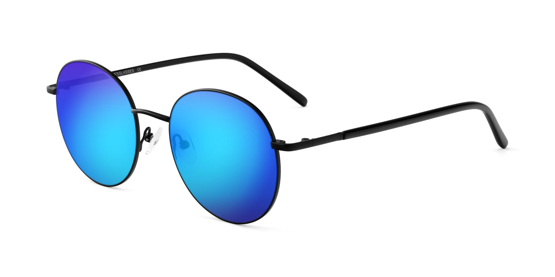 Angle of Cosmos in Black with Blue Mirrored Lenses