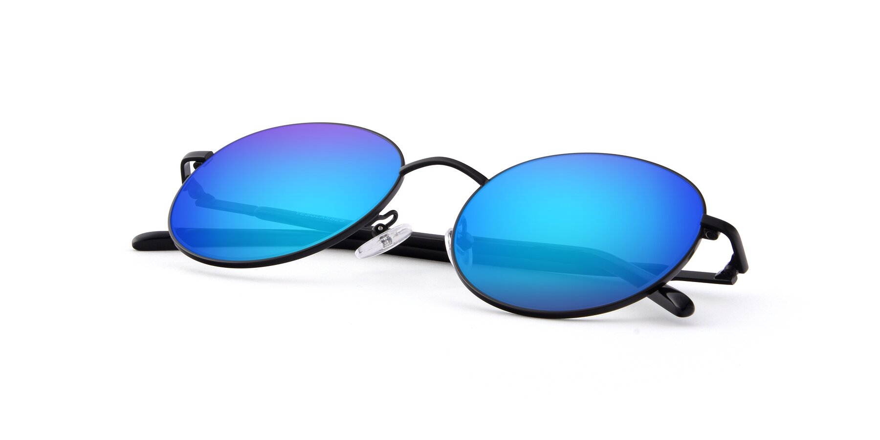View of Cosmos in Black with Blue Mirrored Lenses