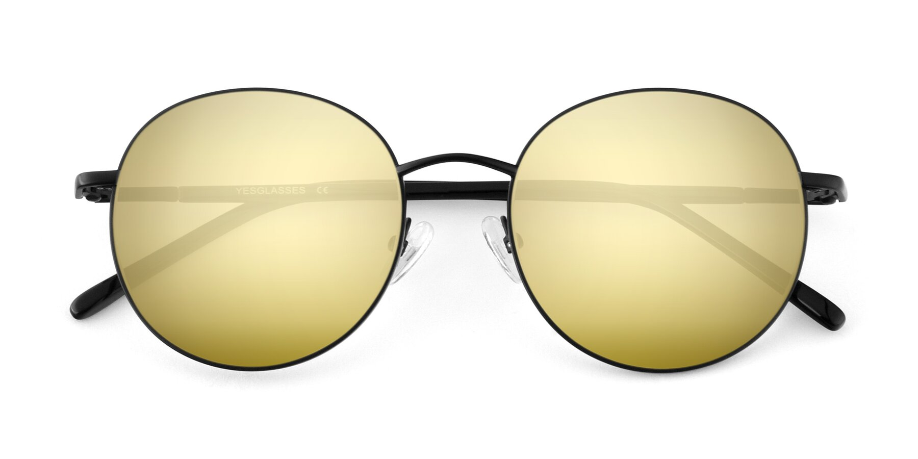 Folded Front of Cosmos in Black with Gold Mirrored Lenses