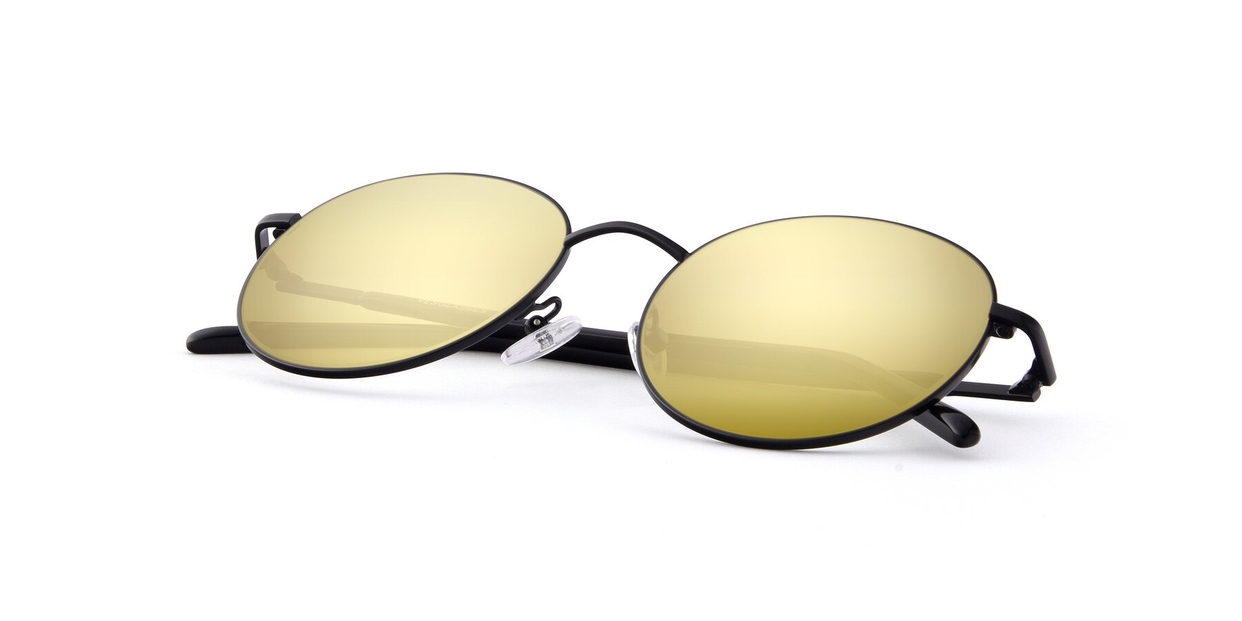 View of Cosmos in Black with Gold Mirrored Lenses