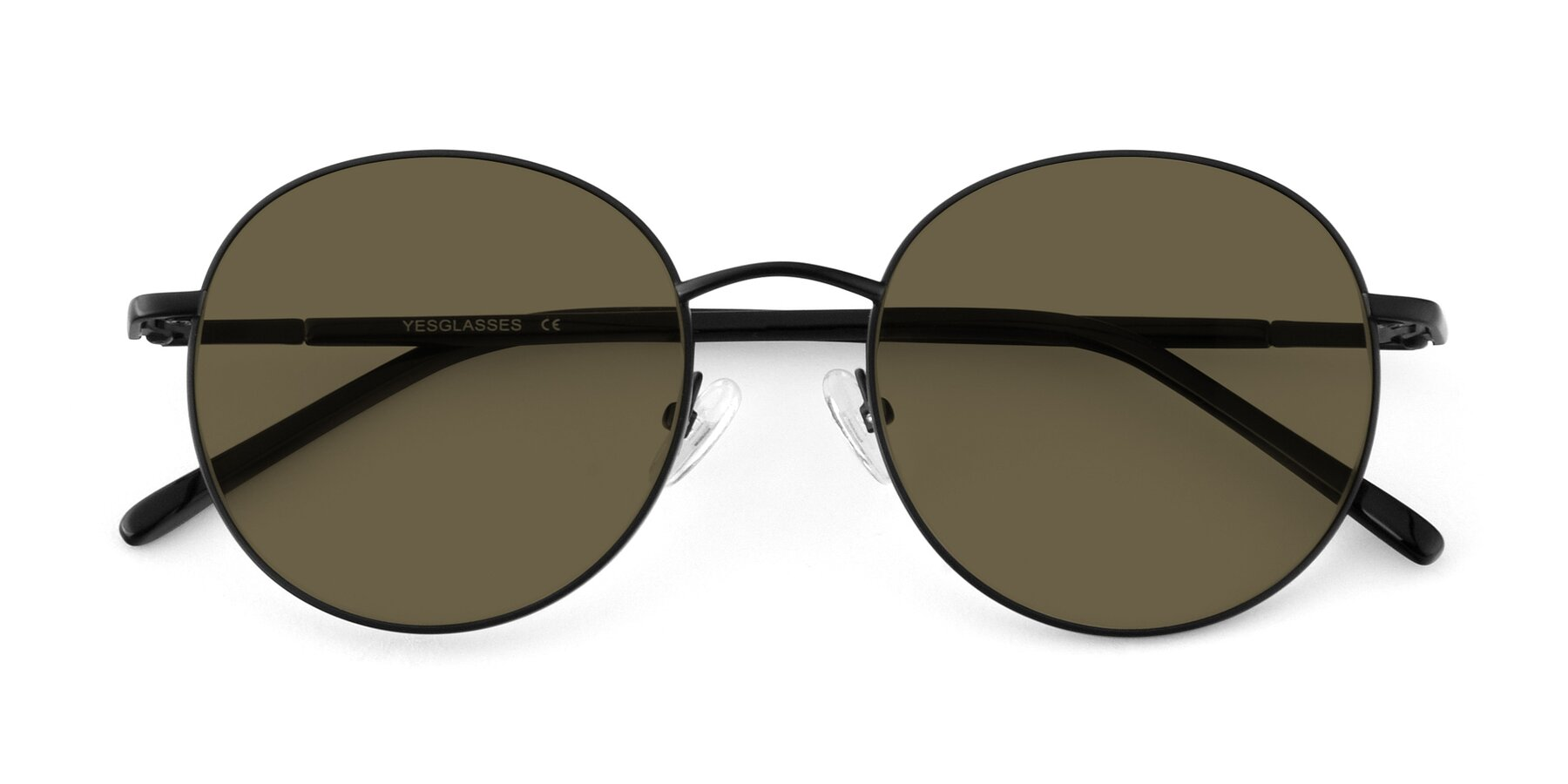 Folded Front of Cosmos in Black with Brown Polarized Lenses