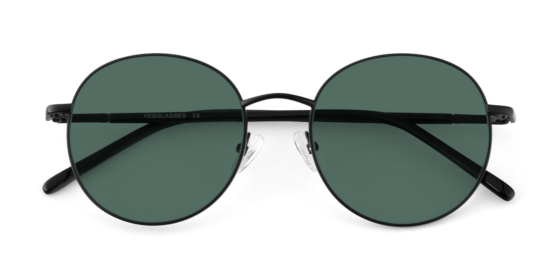 Folded Front of Cosmos in Black with Green Polarized Lenses