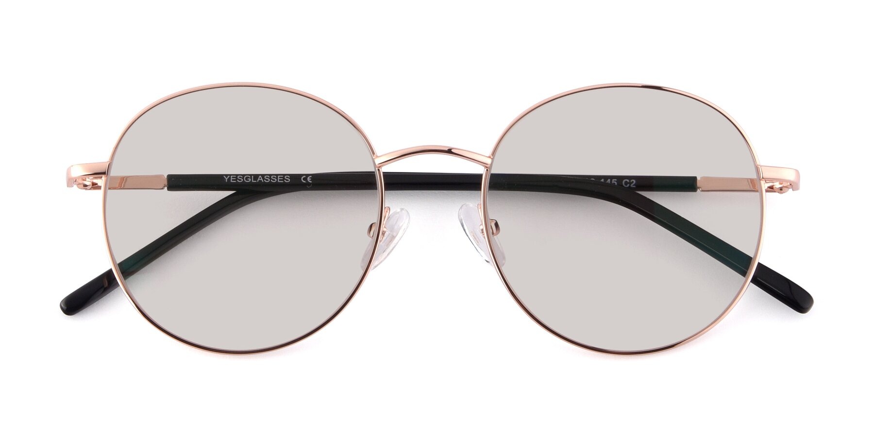 Folded Front of Cosmos in Rose Gold with Light Brown Tinted Lenses
