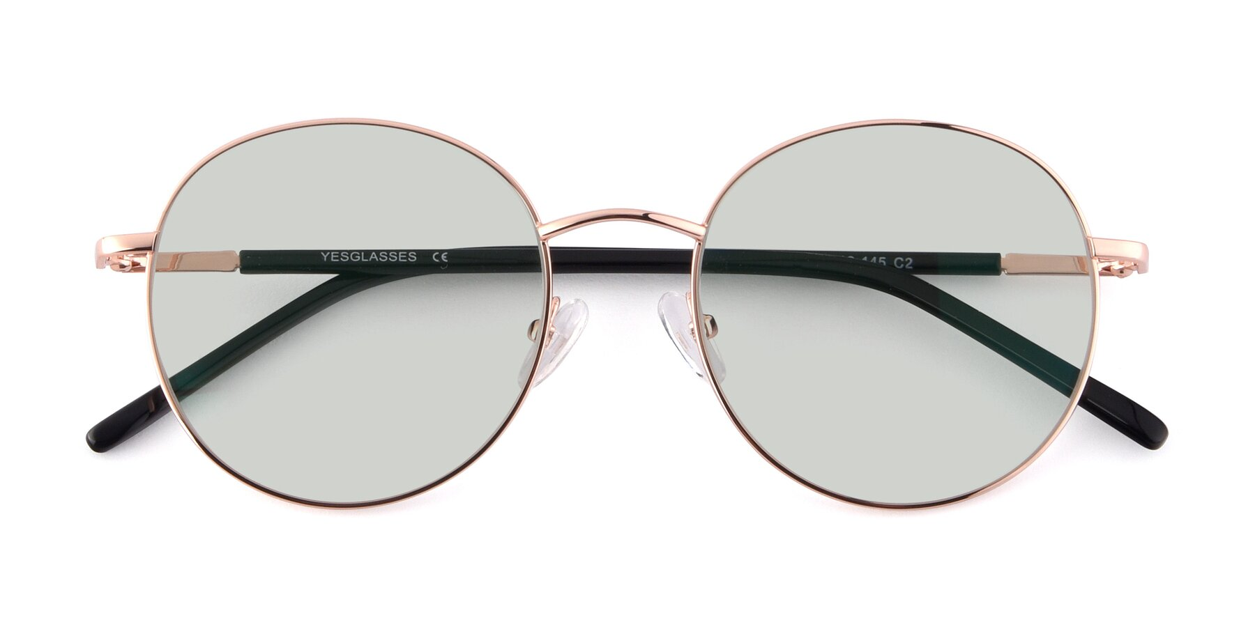 Folded Front of Cosmos in Rose Gold with Light Green Tinted Lenses