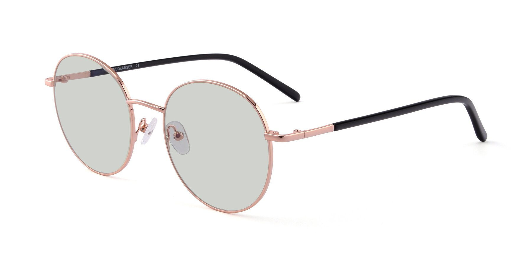 Angle of Cosmos in Rose Gold with Light Green Tinted Lenses