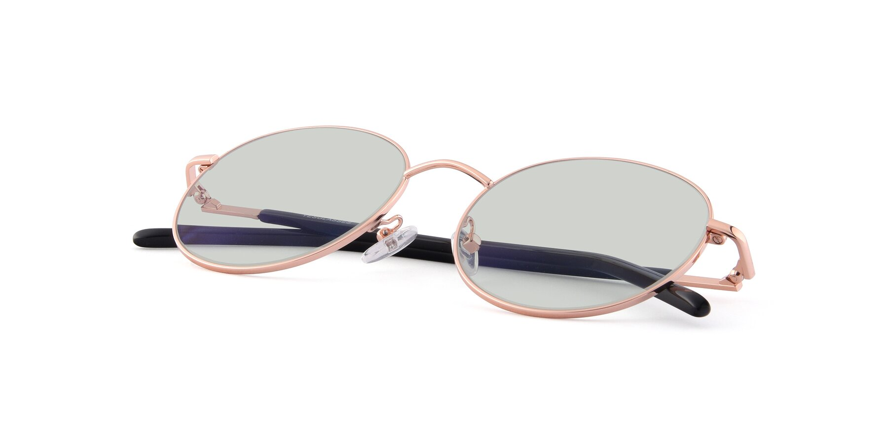 View of Cosmos in Rose Gold with Light Green Tinted Lenses