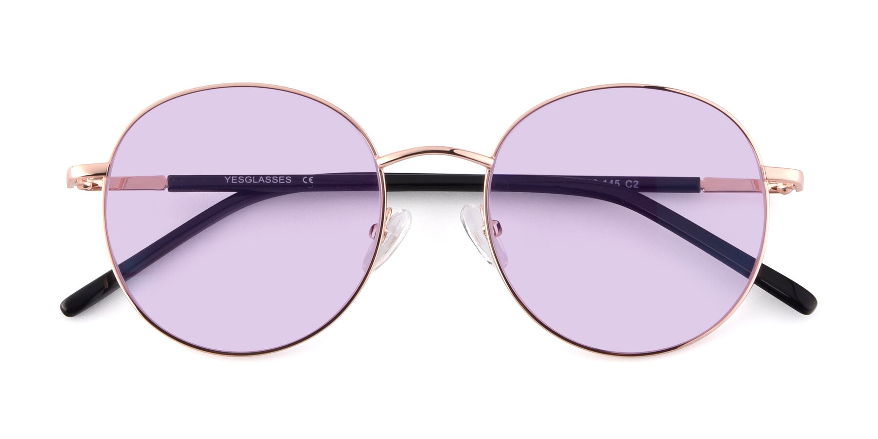Folded Front of Cosmos in Rose Gold with Light Purple Tinted Lenses