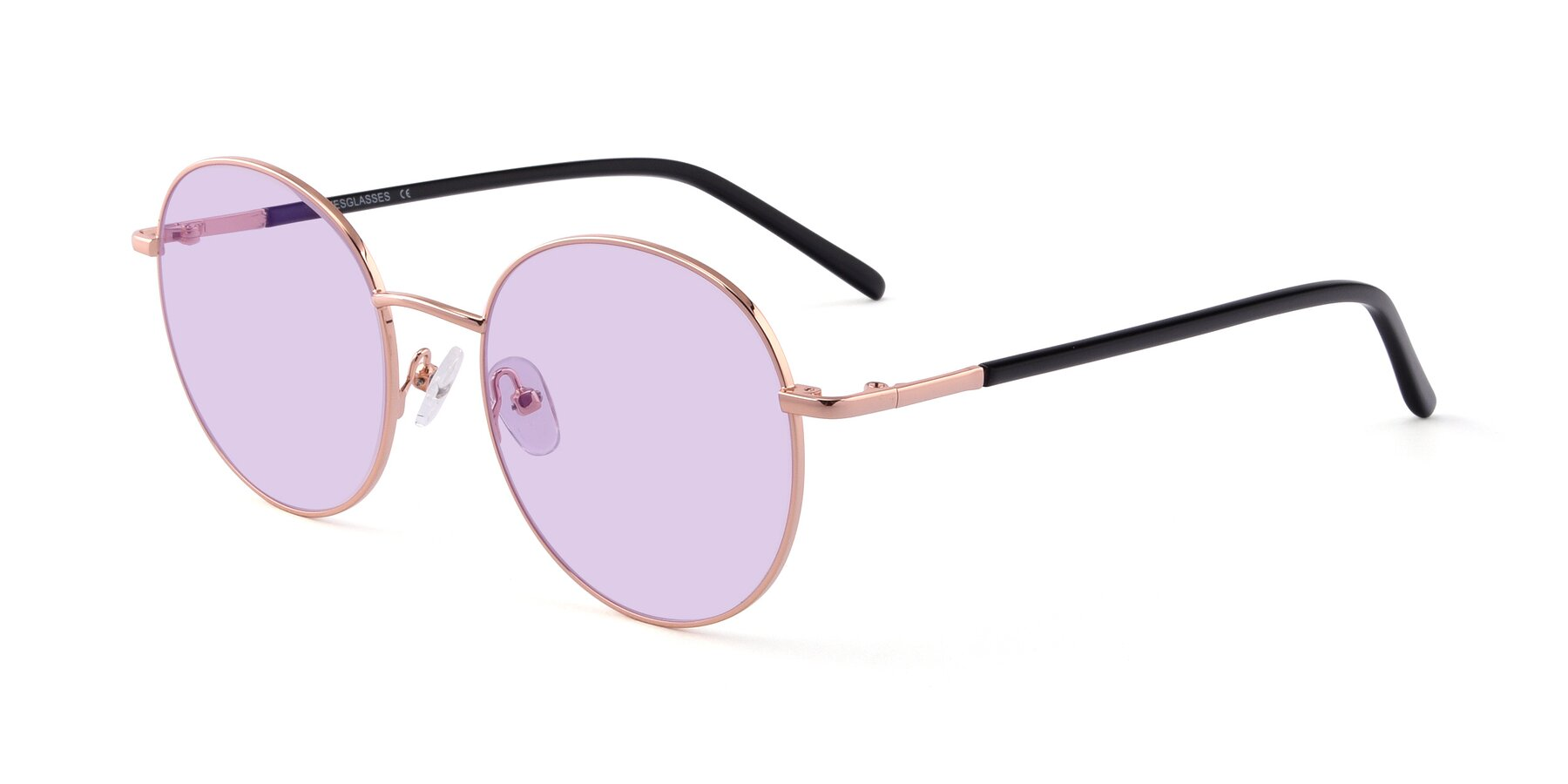 Angle of Cosmos in Rose Gold with Light Purple Tinted Lenses