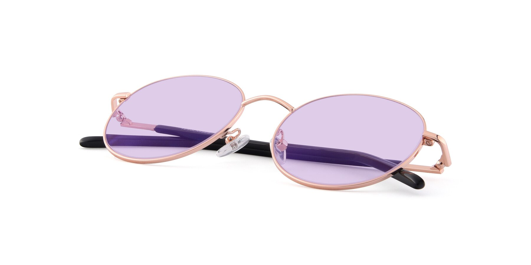 View of Cosmos in Rose Gold with Light Purple Tinted Lenses