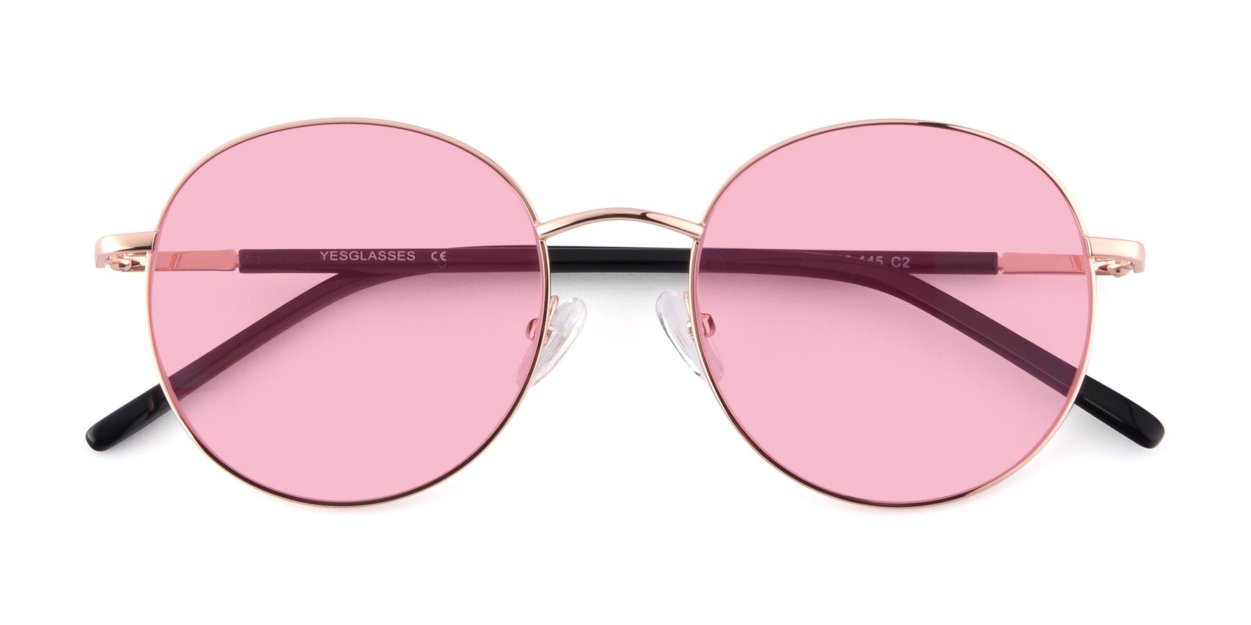 Folded Front of Cosmos in Rose Gold with Medium Pink Tinted Lenses