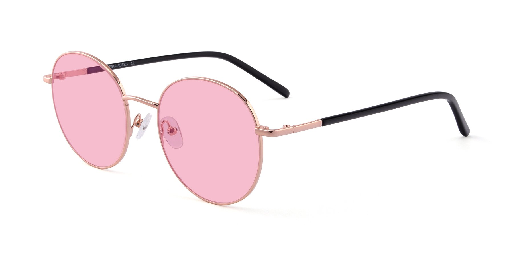 Angle of Cosmos in Rose Gold with Medium Pink Tinted Lenses