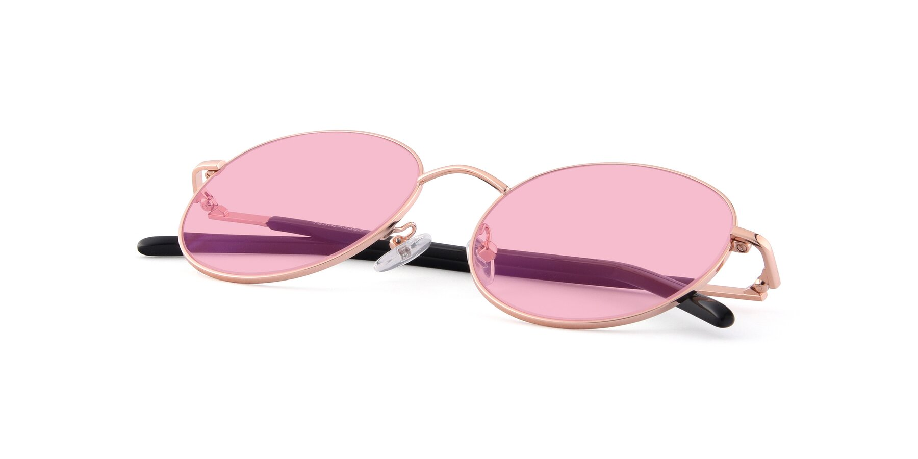 View of Cosmos in Rose Gold with Medium Pink Tinted Lenses