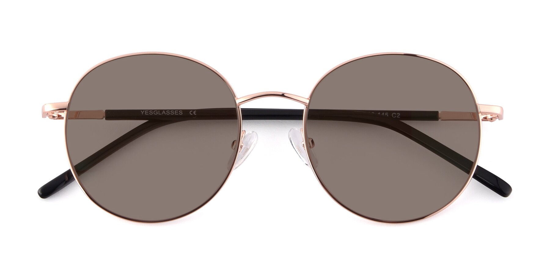 Folded Front of Cosmos in Rose Gold with Medium Brown Tinted Lenses