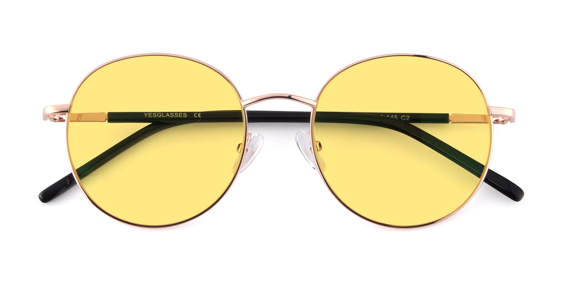 Folded Front of Cosmos in Rose Gold with Medium Yellow Tinted Lenses